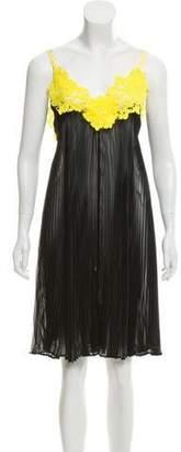 Sacai Lace-Trimmed Pleated Dress