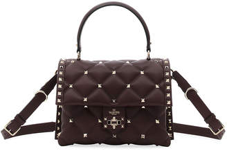 Valentino Candystud Quilted Leather Top-Handle Bag