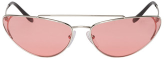 Prada Silver and Pink Metal Oval Sunglasses