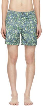 Onia Blue and Green Banana Leaf Calder Swim Shorts