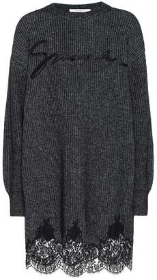 Givenchy Lace-trimmed cotton-blend knit dress