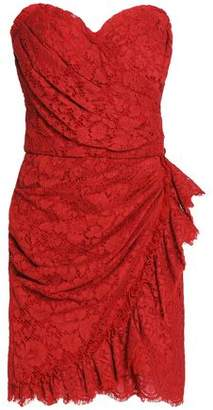 Dolce & Gabbana Strapless Wrap-Effect Corded Lace Mini Dress