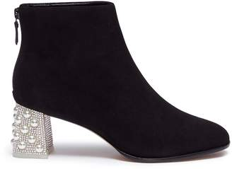Sophia Webster 'Stella' faux pearl glass crystal heel suede ankle boots