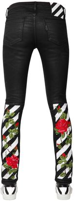 Coated Embroidered Skinny Cotton Denim $746 thestylecure.com