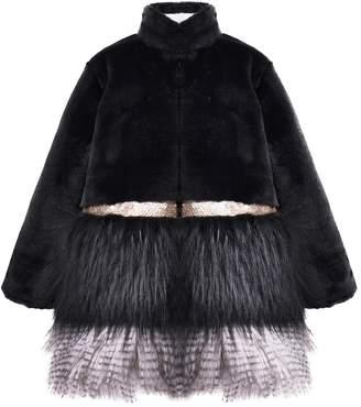 Imoga Freya Long Faux Fur Mix Coat (Little Girls & Big Girls)