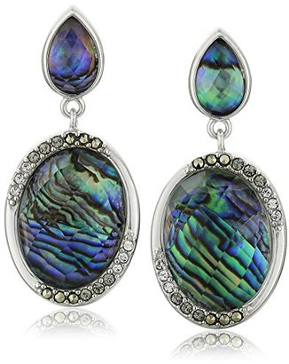 "Judith Jack ""Abalone Enchantment"" Sterling Silver Abalone Marcasite Post Drop Earrings $98 thestylecure.com"