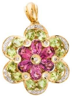 18K Tourmaline, Peridot & Diamond Flower Pendant