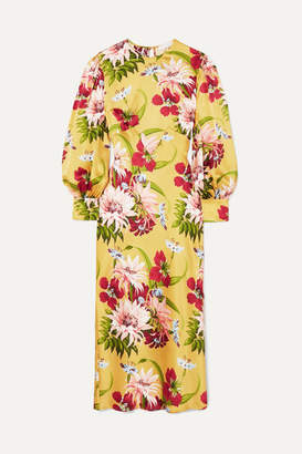 Olivia von Halle Aureta Floral-print Silk-satin Midi Dress - Yellow