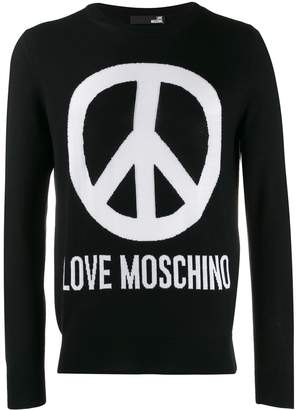 Love Moschino peace sign logo pullover