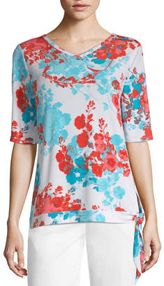 East Fifth east 5th-Womens V Neck Elbow Sleeve T-Shirt