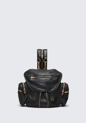 Alexander Wang MINI MARTI BACKPACK IN WASHED BLACK WITH ROSE GOLD BACKPACK