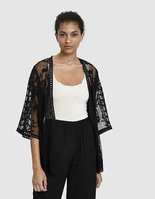 Farrow Cassis Sheer Lace Kimono in Black