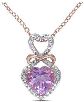 Concerto Rose de France Amethyst Diamond-Accented Silver Heart Necklace