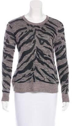 Rebecca Taylor Zebra Print Long Sleeve Knit Sweater