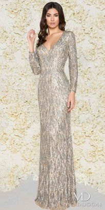 Mac Duggal Dazzling Fully Embellished Long Sleeve Couture Column Dress $598 thestylecure.com