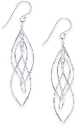 Essentials Large Silver Plated Interlocking Drop Earrings