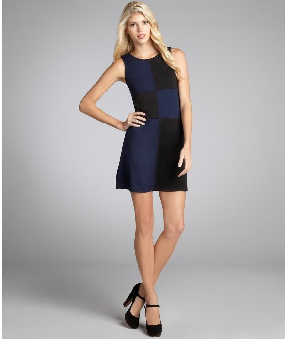 Julie Brown JB by black and navy stretch knit colorblocked sleeveless sheath