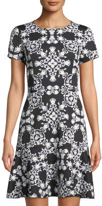 Neiman Marcus Short-Sleeve Puff-Print Scuba Dress