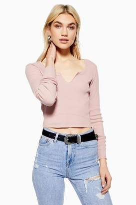 Topshop Womens Notch Neck Long Sleeve Top