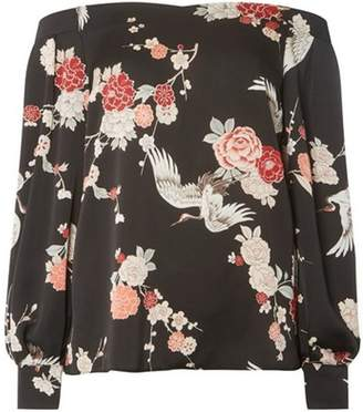 Dorothy Perkins Womens **Tall Black Floral Print Sweetheart Top