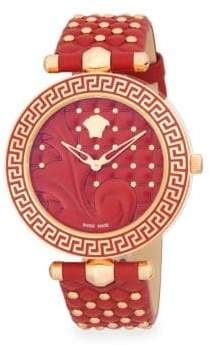 Versace Rose Goldtone Stainless Steel and Studded Leather-Strap Watch
