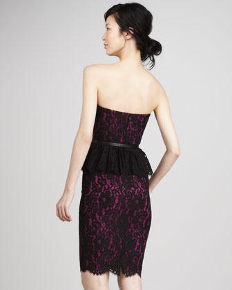 Robert Rodriguez Strapless Lace Peplum Dress