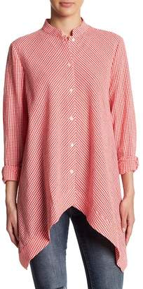 Anne Klein Gingham Sharkbite Shirt
