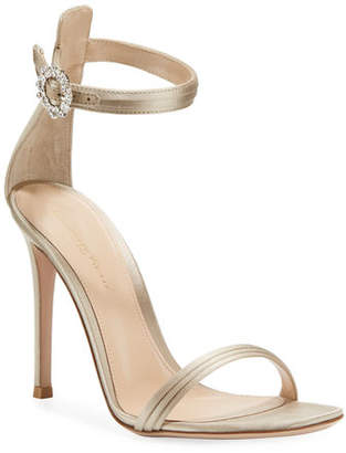 Gianvito Rossi Pleated Satin Embellished 105mm Sandal