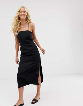 And other stories &  criss cross linen blend midi dress in black