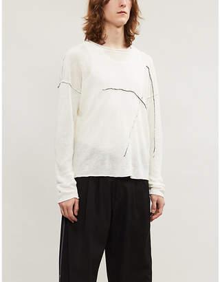 Contrast-stitching linen-knit jumper
