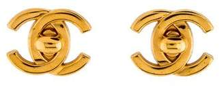 Chanel CC Logo Turnlock Earrings