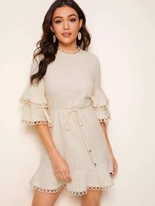 Shein Keyhole Back Flounce Sleeve Circle Lace Trim Belted Dress