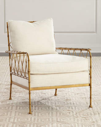 Global Views Aracy Gold Bamboo Style Lounge Chair