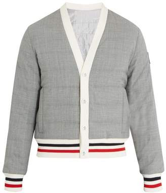 Moncler Striped Trim Quilted Down Bomber Jacket - Mens - Grey