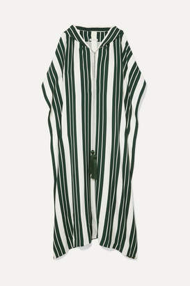 Oscar de la Renta Hooded Tasseled Striped Crepe Maxi Dress - Green