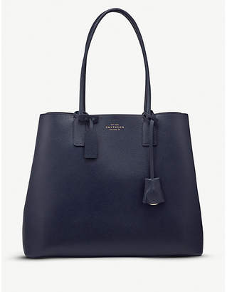 Smythson Panama cross-grain leather business tote bag