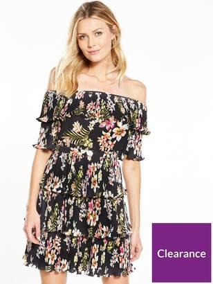 Very Bardot Pleated Ruffle Dress