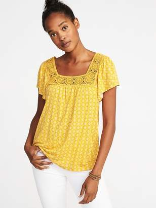 Old Navy Printed Square-Neck Crochet-Trim Top for Women