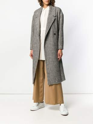 Semi-Couture Semicouture belted plaid coat