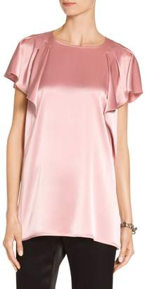 St. John Ruffle Sleeve Liquid Satin Top