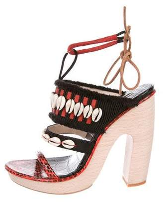 Dries Van Noten Snakeskin Embellished Sandals