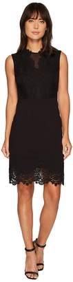 Vince Camuto Sleeveless Ponte Dress w/ Lace Trim Women's Dress