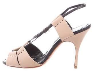 Manolo Blahnik Leather Slingback Sandals