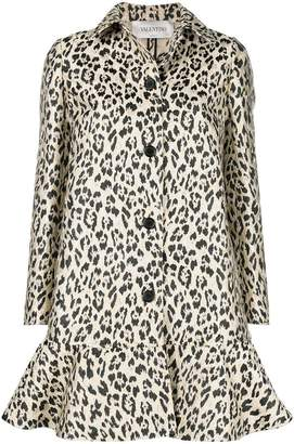 Valentino leopard print flared coat