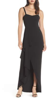 Dress the Population Cora Sleeveless Waterfall Crepe Gown