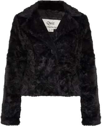 Quiz Black Faux Fur One Button Short Jacket