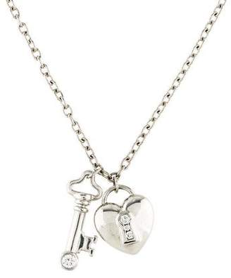 Tiffany & Co. Platinum Diamond Heart Lock & Key Charm Pendant Necklace