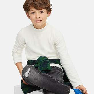 Uniqlo Kid's Stretch Fleece Ribbed High-neck Long-sleeve T-Shirt