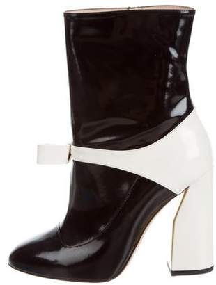 Gucci Colorblock Bow-Accented Ankle Boots w/ Tags