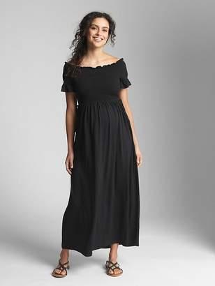 Gap Maternity Smocked Off-Shoulder Maxi Dress